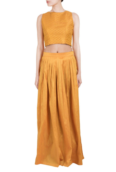 Yellow Skirt Crop Top