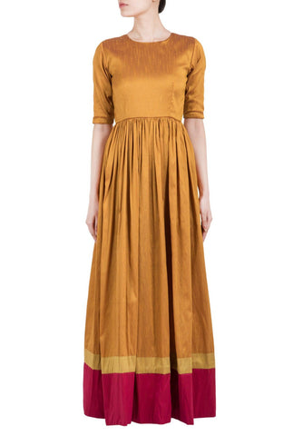 Brown Gold Double Border Straight Dress