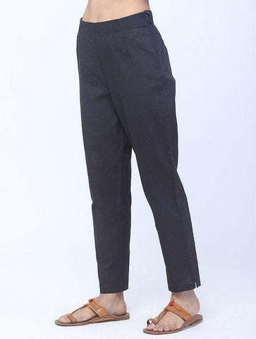 Black Handwoven Cotton Pants