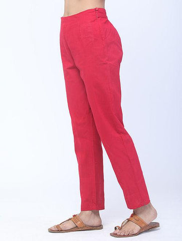 Red Handwoven Cotton Pants