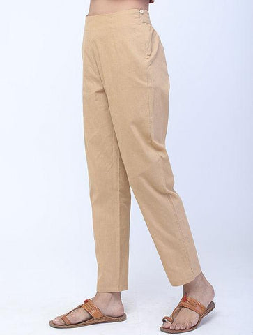Beige Handwoven Cotton Pants