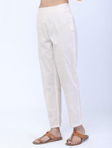 White Handwoven Cotton Pants