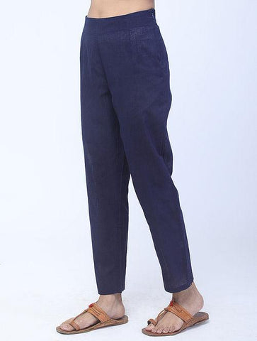 Navy Handwoven Cotton Pants