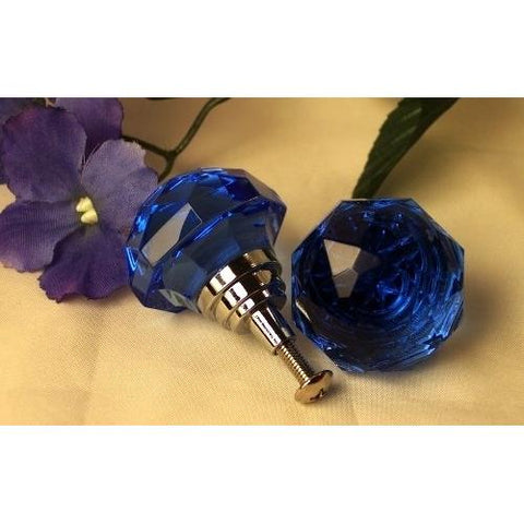 LARGE Light Cobalt Blue Solid Crystal Glass Drawer Pull - Paradise Crow -  Natural Design & Interiors