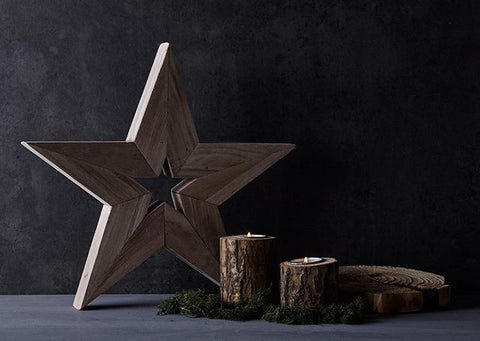 Large Wooden Star -  Wooden Interiors Decoration - Natural Interiors
