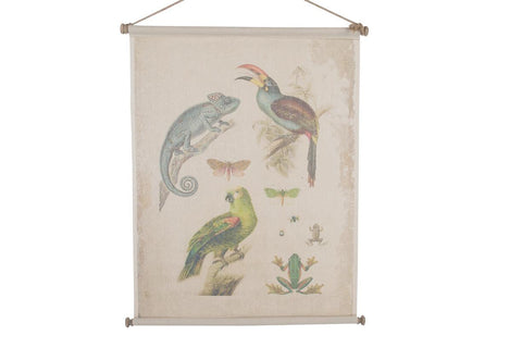 Vintage style animal 'Fauna' print hanger - on canvas.  scroll hanger - Paradise Crow -  Natural Design & Interiors