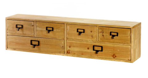 Wide 6 Drawers Wood Storage Organizer 80 x 15 x 20 cm - Paradise Crow -  Natural Design & Interiors