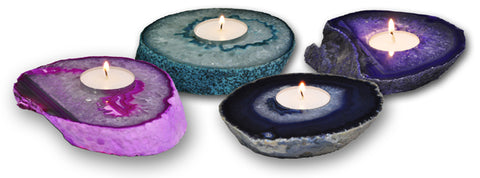 Agate Tea Light Candle Holder - Blue / Pink / Green - Paradise Crow -  Natural Design & Interiors