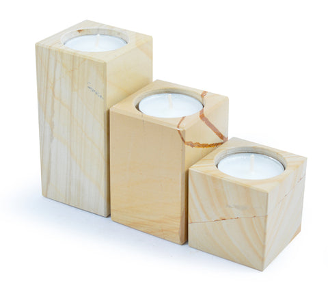 Set of 3 Woodstone Square Tiered Tea Light Holders - Paradise Crow -  Natural Design & Interiors