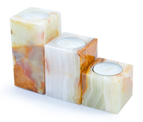 Set of 3 Himalayan Marble Stone -  Square Tiered Tea Light Holders - Paradise Crow -  Natural Design & Interiors