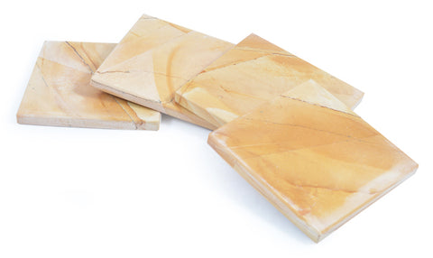 Set of 4 woodstone marble coasters - Paradise Crow -  Natural Design & Interiors