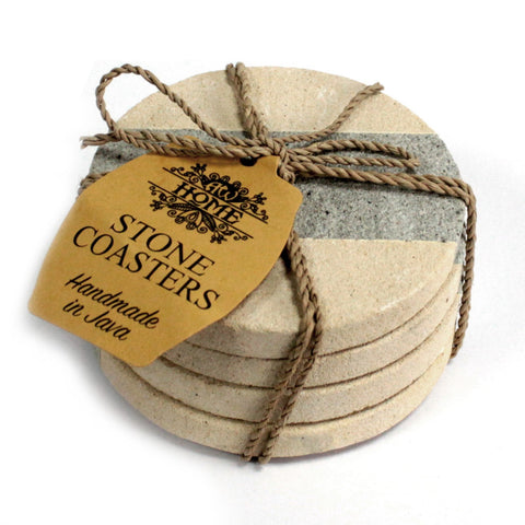 Set of 4 Stone Coasters - Round - Stripe 9cm - Paradise Crow -  Natural Design & Interiors