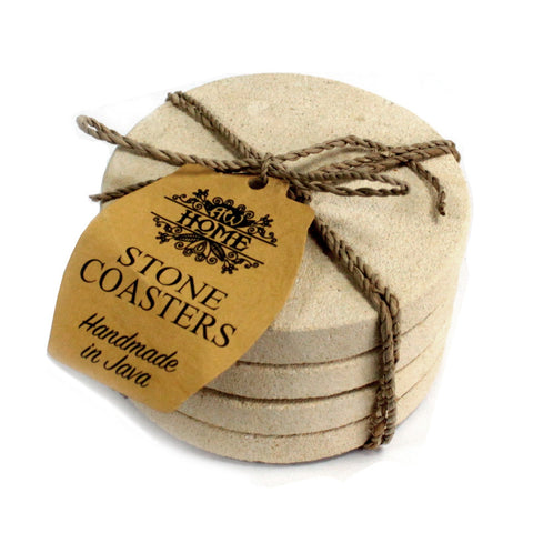 Set of 4 Stone Coasters - Round - Simple Sandstone 9cm - Paradise Crow -  Natural Design & Interiors