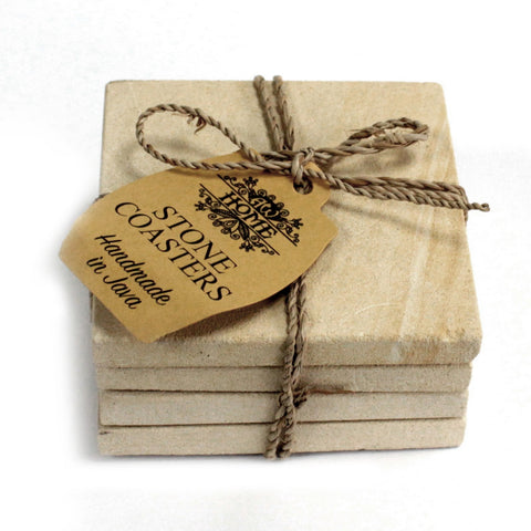 Set of 4 Stone Coasters - Square - Simple Sandstone 9cm - Paradise Crow -  Natural Design & Interiors