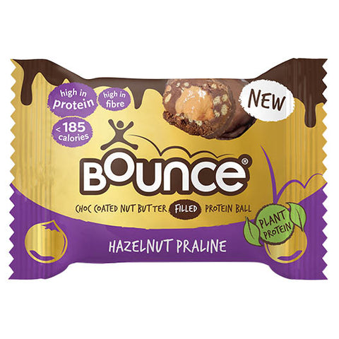 Bounce Choc Coated Nut Butter Filled Protein Ball - Hazelnut Praline