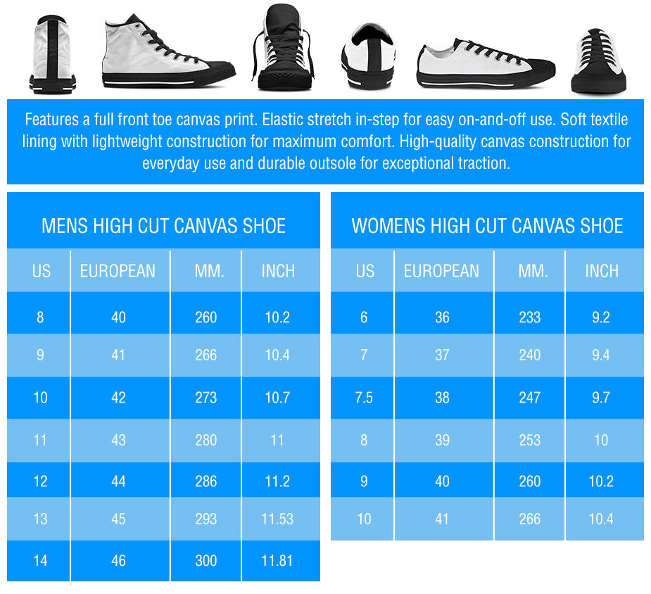 Size Chart for High Tops and Low Tops