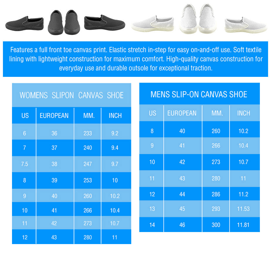 Size Chart for Slip Ons