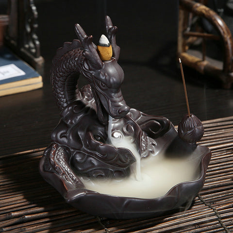 Ceramic Dragon Backflow Incense Burner + 10 FREE Incense Cones TODAY