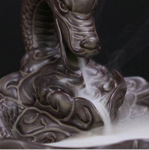 Ceramic Dragon Backflow Incense Burner + 50 FREE Incense Cones TODAY