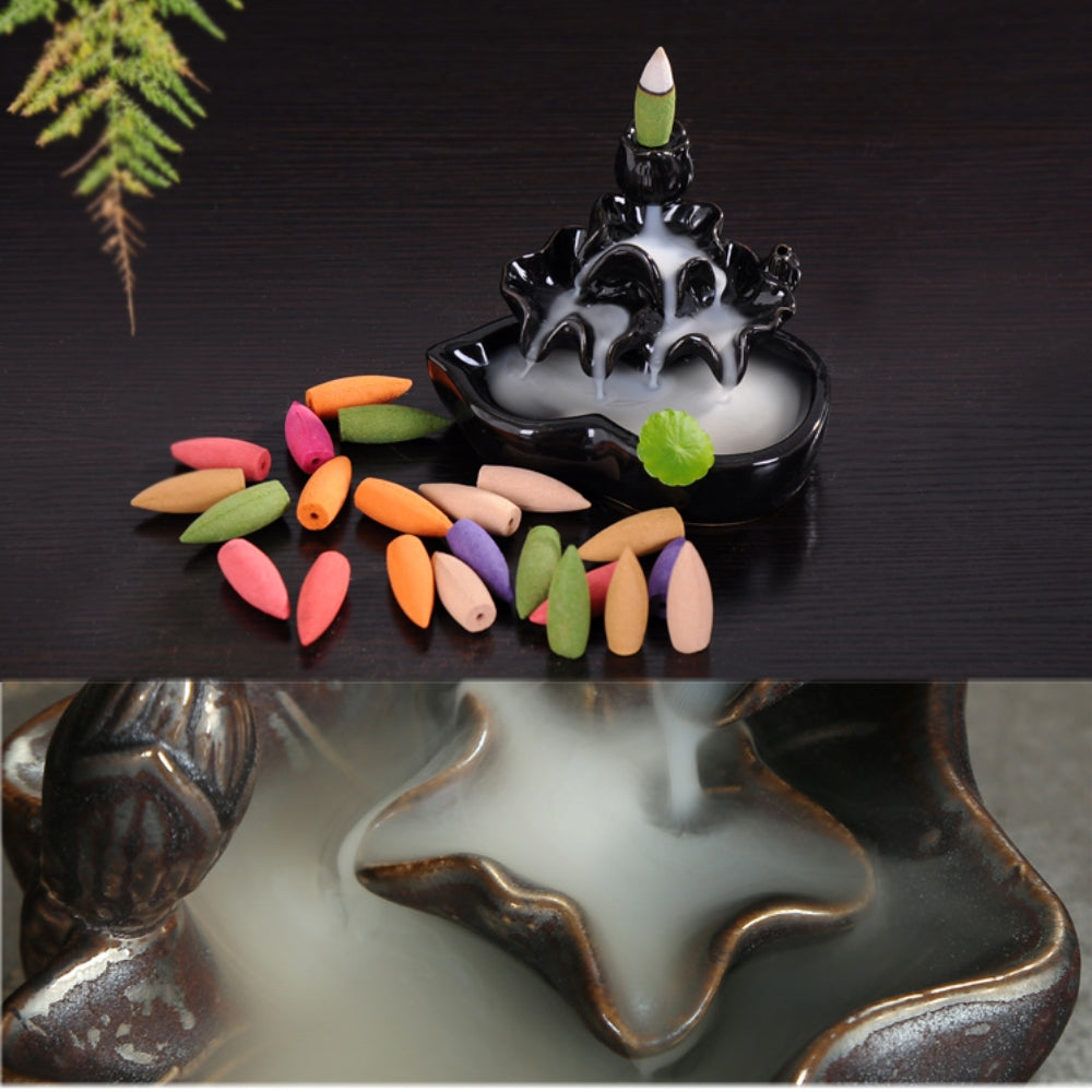 Natural Backflow Incense Burner Cones 70pcs - EXTENDED BURNING TIME