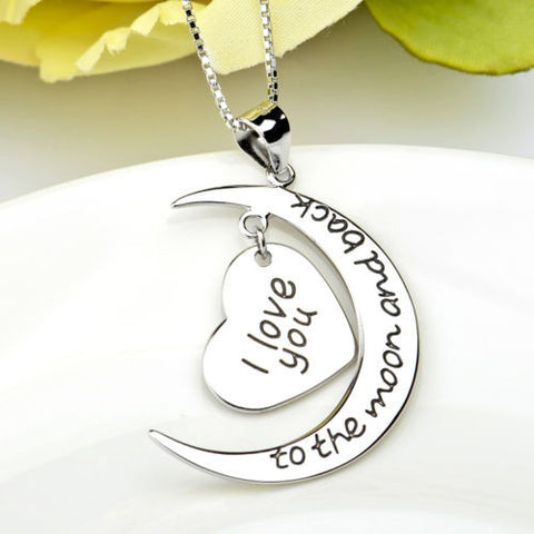 "925 Sterling Silver ""I Love You to the Moon and Back"" Necklace"