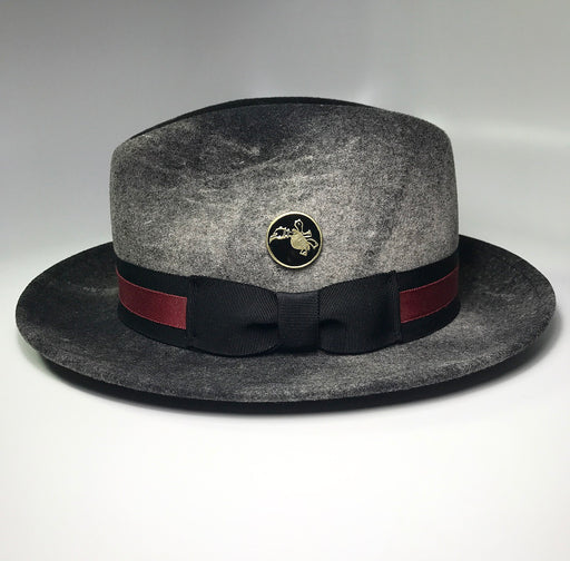 Side profile, FKHC Briquette charcoal grey fedora hat