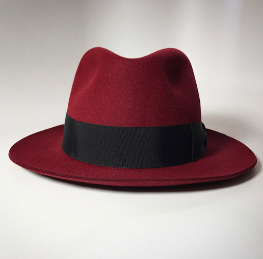 Side Profile, the FKHC CREMA MERLOT FEDORA HAT