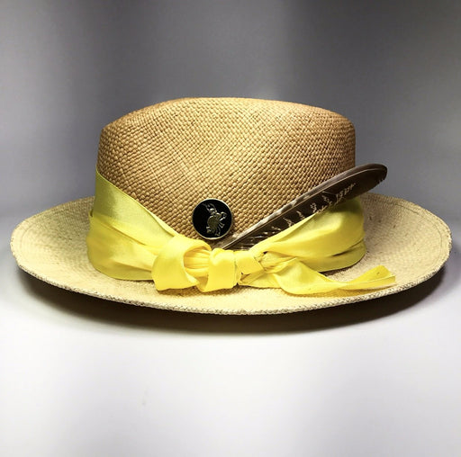 CANARY COLUMBIAN STRAW HAT, BEIGE, YELLOW RIBBON