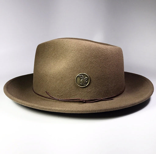FLAMEKEEPERS HAT CLUB TURTLE CHESTNUT BROWN FEDORA SIDE