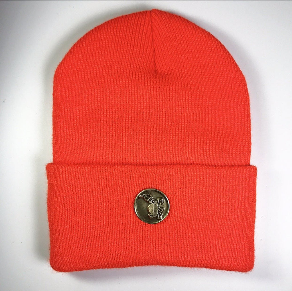 the MEDALLION SKULL CAP NEON ORANGE