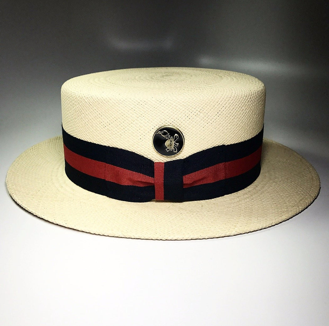 FLAMEKEEPERS HAT CLUB GONDOLIER PANAMA STRAW HAT WITH TURTLE LOGO