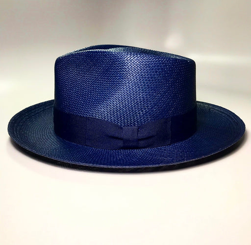 side profile, FKHC RIVIERA NAVY FEDORA HAT