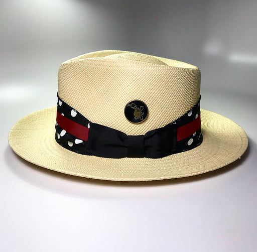 FLAMEKEEPERS HAT CLUB LIDO POLKA DOT FEDORA PANAMA STRAW HAT