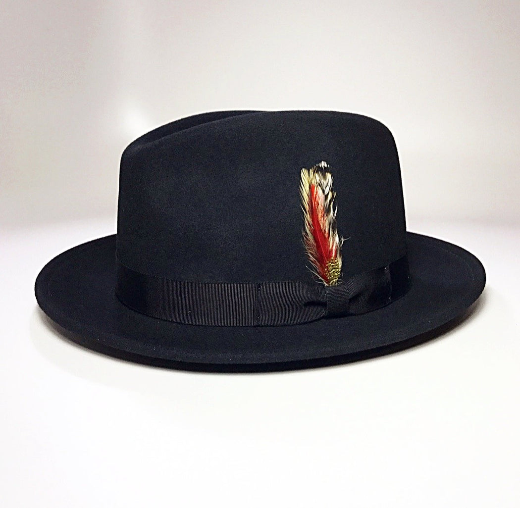 FKHC BLACK WOOL FEDORA HAT WITH FEATHER