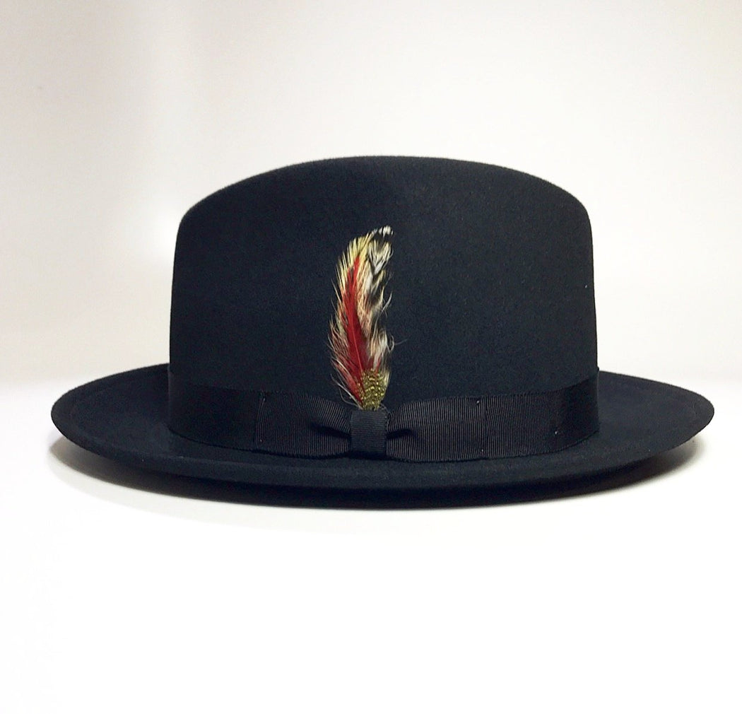 BLACK WOOL FELT FEDORA WITH MULTICOLOR FEATHER