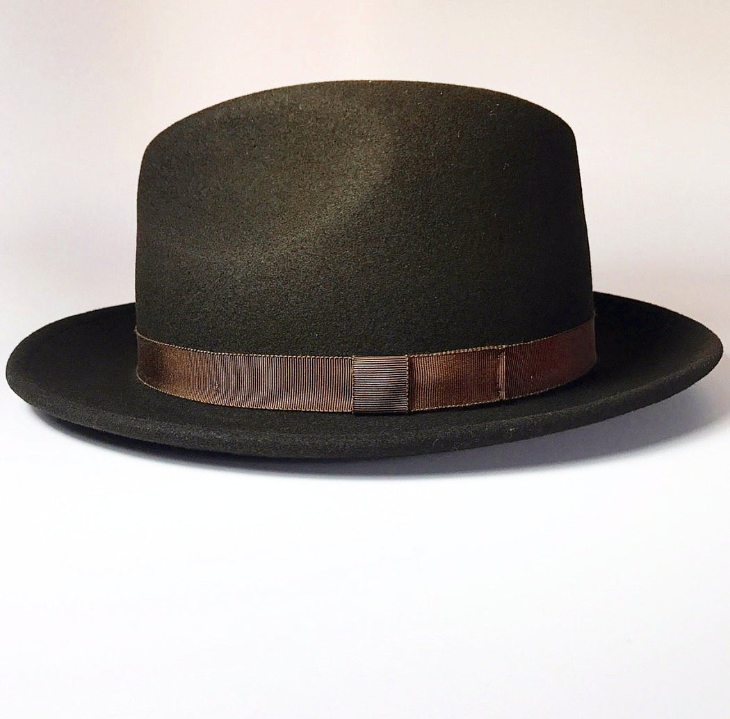 FKHC TORCH MEDIUM BRIM FEDORA WITH BROWN GROSGRAIN RIBBON