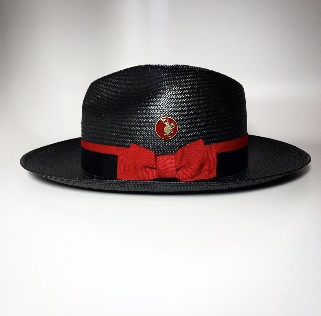 FKHC Black Straw Fedora Hat with Red Logo Emblem