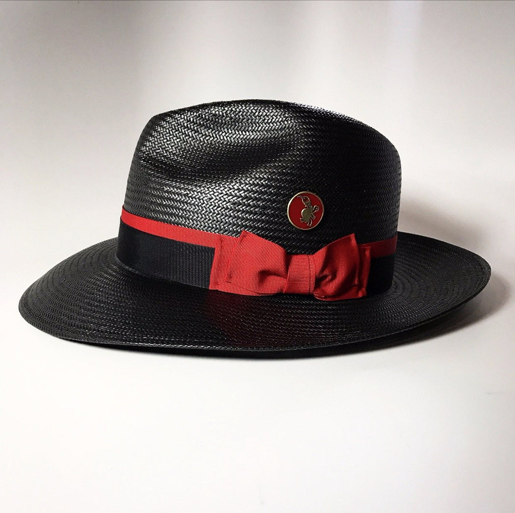Side of FKHC Black Straw Fedora Hat