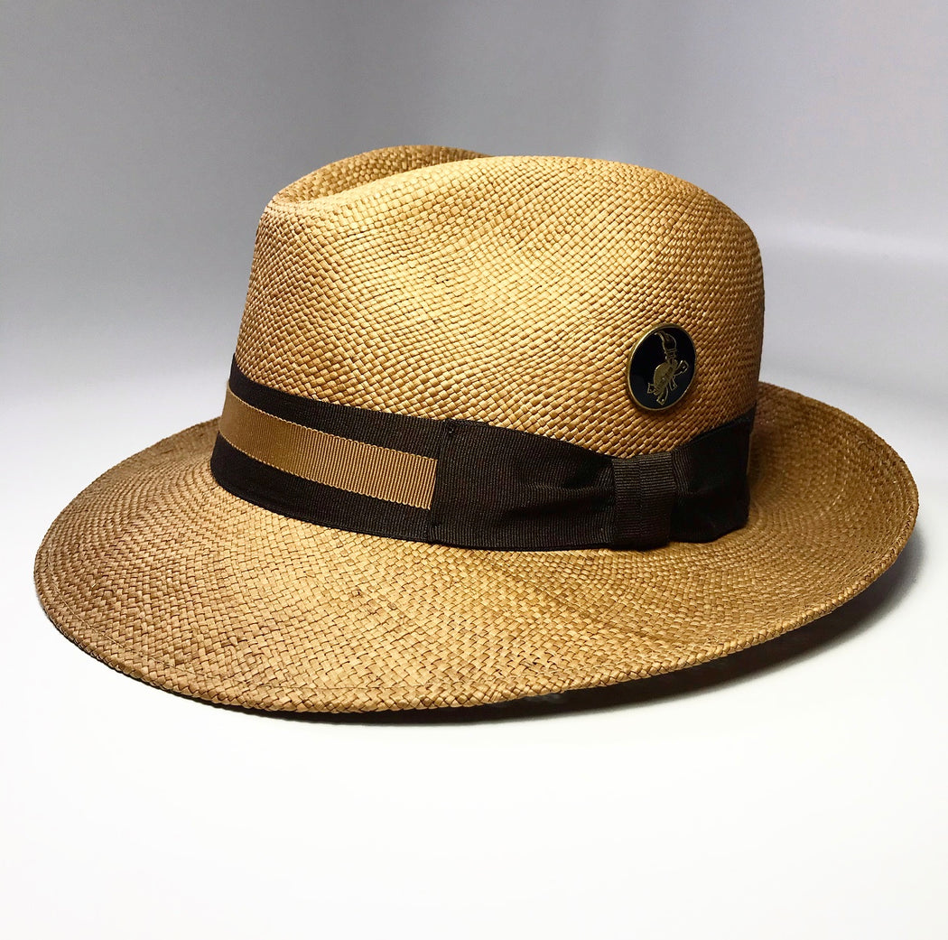 ANGLED PROFILE, FKHC CAFE ORO FEDORA HAT ACORN BROWN