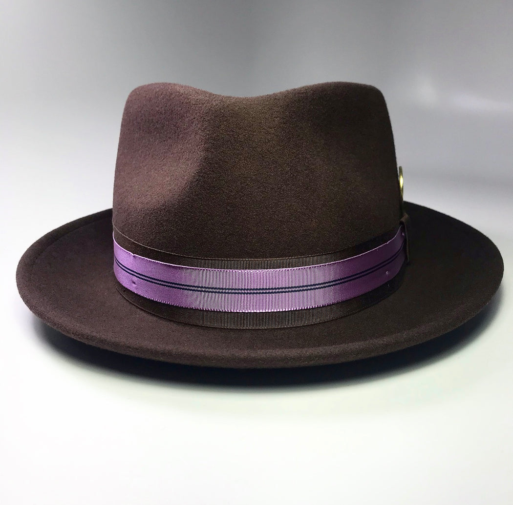 FLAMEKEEPERS HAT CLUB BROWN FEDORA WITH LAVENDER ACCENT