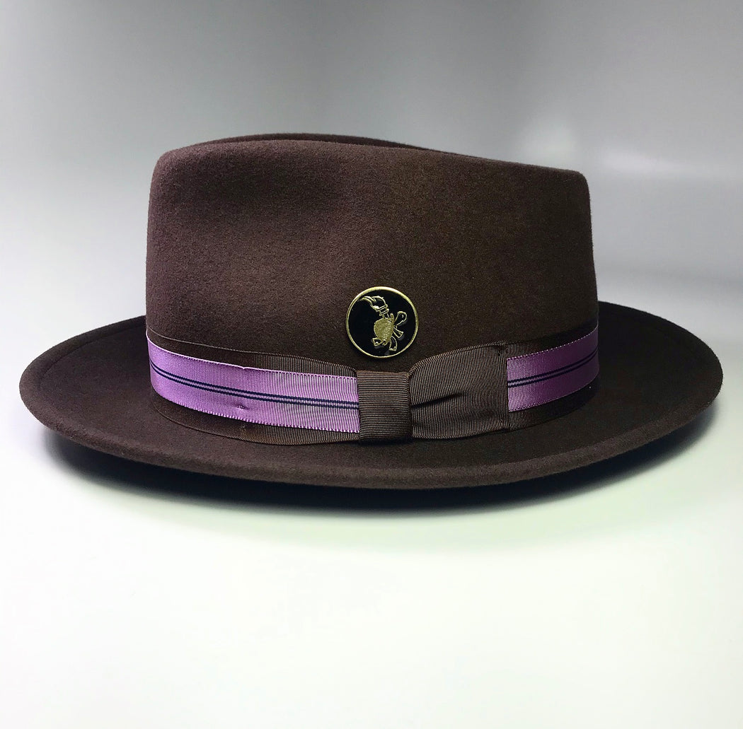 FKHC TRUFFLE CHOCOLATE FEDORA WITH LAVENDER GROSGRAIN REIBBON