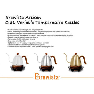Brewista Artisan 600ml Gooseneck Variable Temp Kettle