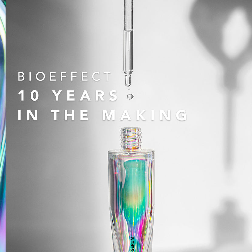"A bottle of EGF Serum with the pipette positioned above it & the text ""BIOEFFECT 10 Years In The Making"" overlaid on the image."
