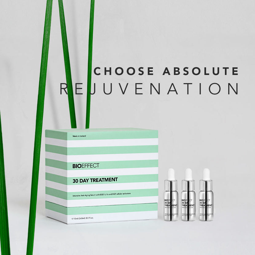 "BIOEFFECT 30 Day Treatment skincare box with the text ""Choose Absolute Rejuvenation"""