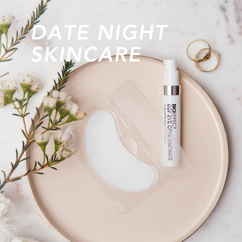 "EGF Eye Concentrate Under Eye Serum & Eye Mask with the text ""Date Night Skincare"""