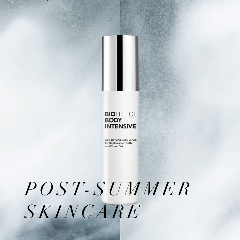 "BIOEFFECT Body Intensive Body Serum on grey background with the text ""Post-Summer Skincare"""