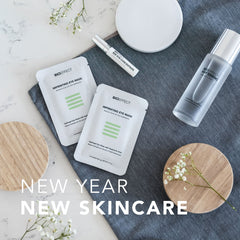 "BIOEFFECT EGF skincare products laid on a table with the text ""New Year New Skincare"""
