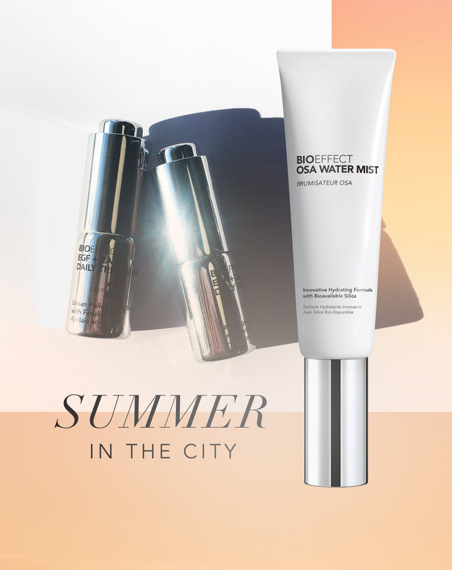 "OSA Water Mist and EGF + 2A Daily Treatment Demo on a peach colored background with the text ""Summer in the city"""