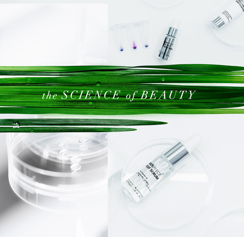 "Various BIOEFFECT Epidermal Growth Factor skincare products pictured with blades of grass and the text ""the SCIENCE of BEAUTY"""