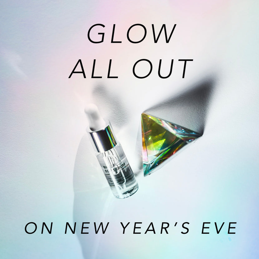 "BIOEFFECT EGF Anti-Aging Serum with a glass pyramid and the text ""Glow All Out on New Year's Eve"""